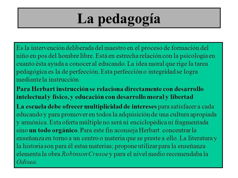 La pedagogía Es la intervención deliberada del maestro en el proceso de formación del niño en pos del hombre libre. Está en estrecha relación con la p