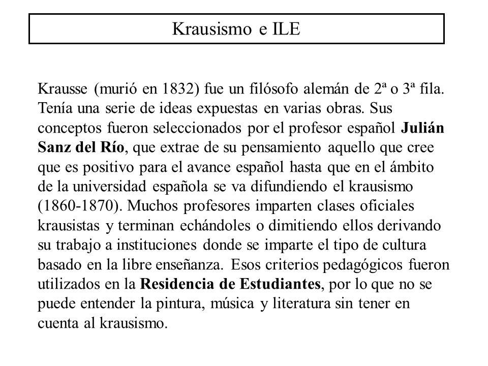 Krausismo e ILE Krausse (murió en 1832) fue un filósofo alemán de 2ª o 3ª fila. Tenía una serie de ideas expuestas en varias obras. Sus conceptos fuer