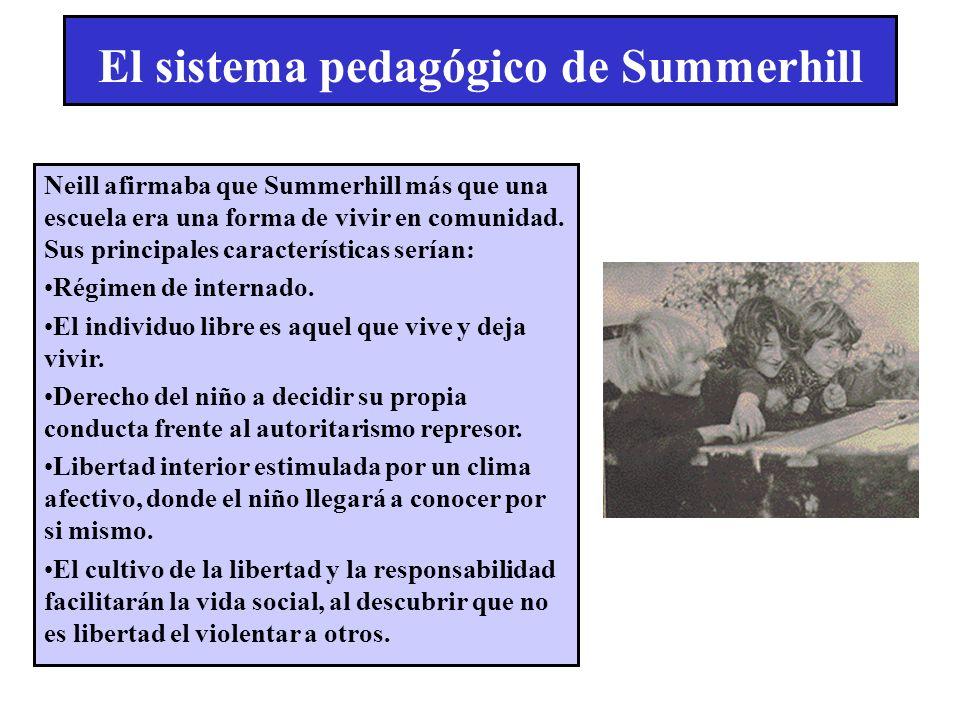 El sistema pedagógico de Summerhill Neill afirmaba que Summerhill más que una escuela era una forma de vivir en comunidad. Sus principales característ