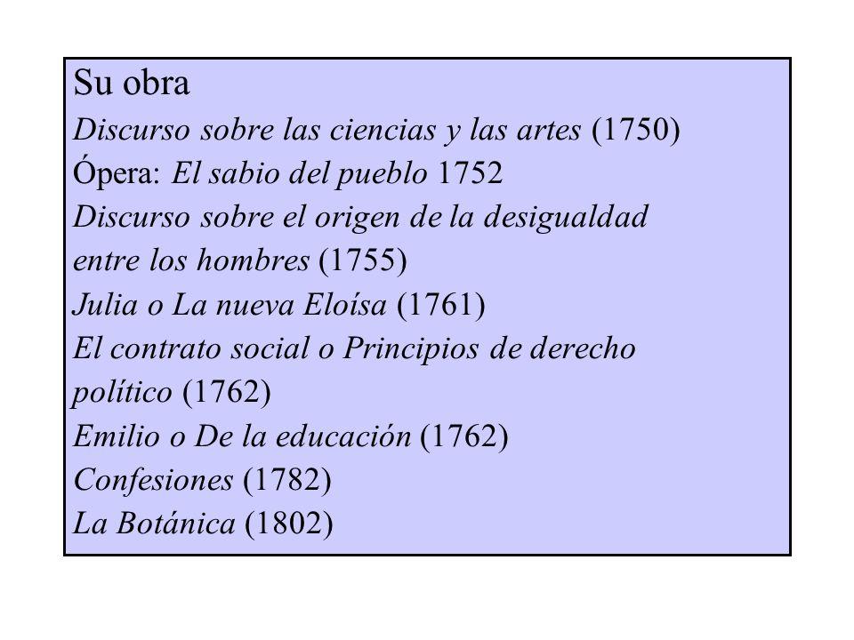 Su obra Discurso sobre las ciencias y las artes (1750) Ópera: El sabio del pueblo 1752 Discurso sobre el origen de la desigualdad entre los hombres (1