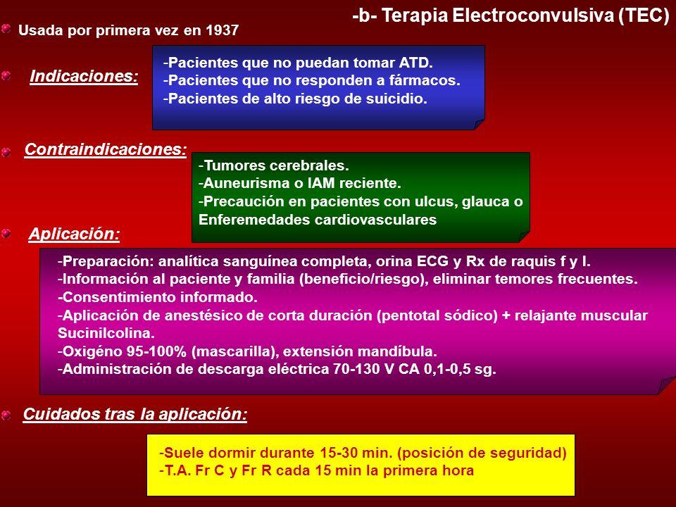 -b- Terapia Electroconvulsiva (TEC) Usada por primera vez en 1937 Indicaciones: -Pacientes que no puedan tomar ATD. -Pacientes que no responden a fárm