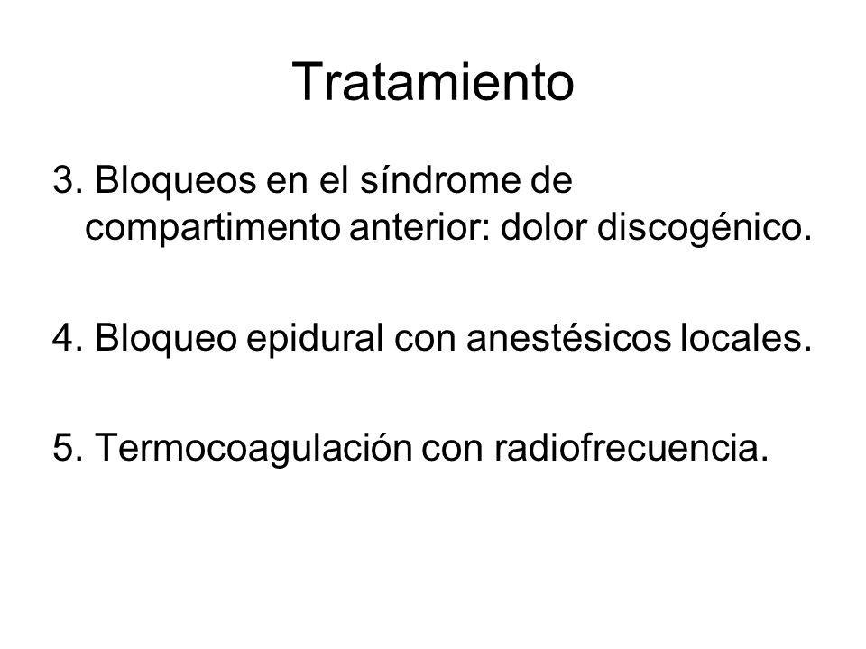 Tratamiento 3. Bloqueos en el síndrome de compartimento anterior: dolor discogénico. 4. Bloqueo epidural con anestésicos locales. 5. Termocoagulación