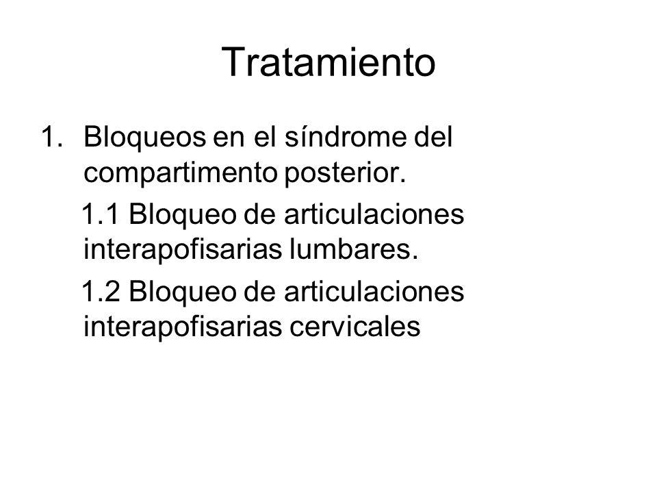 Tratamiento 1.Bloqueos en el síndrome del compartimento posterior. 1.1 Bloqueo de articulaciones interapofisarias lumbares. 1.2 Bloqueo de articulacio