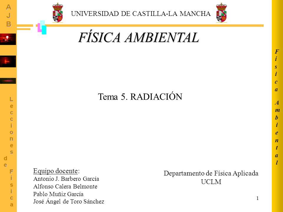 1 AmbientalAmbiental FísicaFísica FÍSICA AMBIENTAL Tema 5. RADIACIÓN UNIVERSIDAD DE CASTILLA-LA MANCHA Equipo docente: Antonio J. Barbero García Alfon
