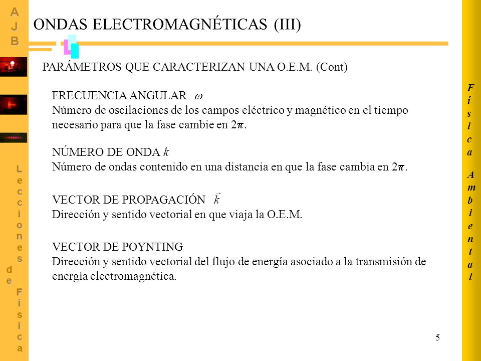 5 ONDAS ELECTROMAGNÉTICAS (III) PARÁMETROS QUE CARACTERIZAN UNA O.E.M. (Cont) FRECUENCIA ANGULAR Número de oscilaciones de los campos eléctrico y magn
