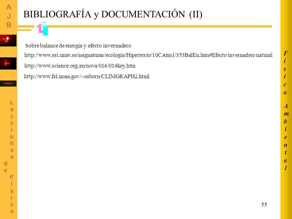55 BIBLIOGRAFÍA y DOCUMENTACIÓN (II) http://www.esi.unav.es/asignaturas/ecologia/Hipertexto/10CAtm1/353BalEn.htm#Efecto invernadero natural Sobre bala
