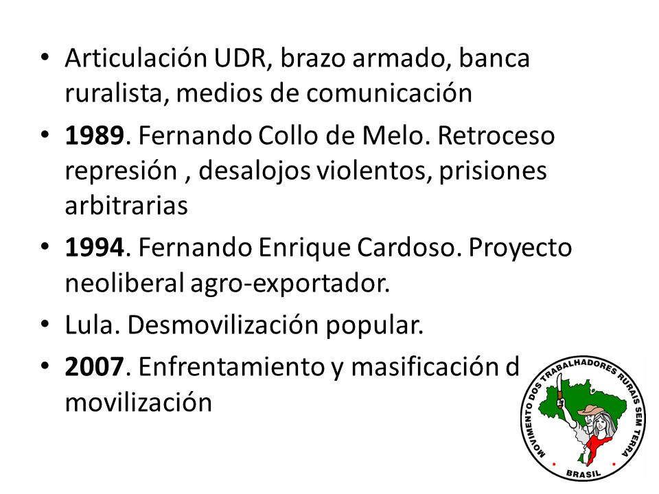 Articulación UDR, brazo armado, banca ruralista, medios de comunicación 1989.