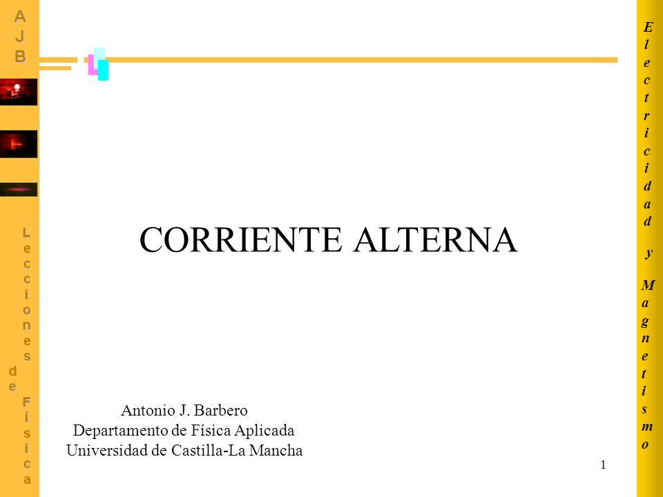 1 CORRIENTE ALTERNA MagnetismoMagnetismo ElectricidadElectricidad y Antonio J. Barbero Departamento de Física Aplicada Universidad de Castilla-La Manc