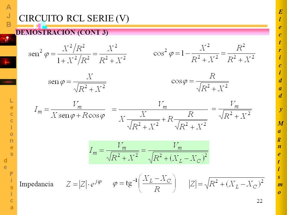22 CIRCUITO RCL SERIE (V) DEMOSTRACIÓN (CONT 3) Impedancia MagnetismoMagnetismo ElectricidadElectricidad y