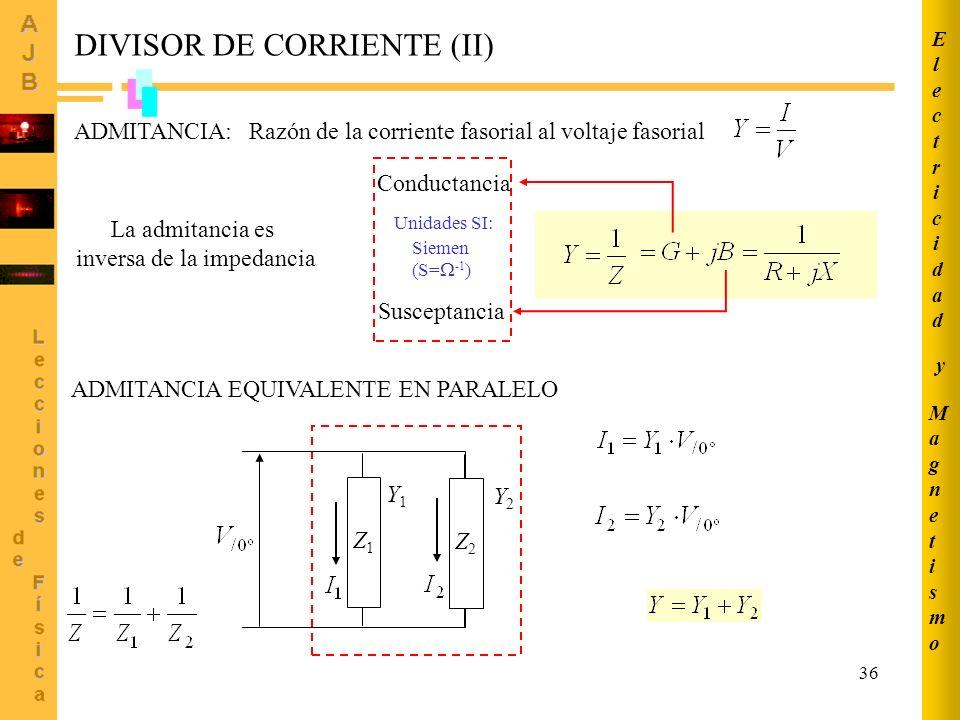 36 DIVISOR DE CORRIENTE (II) ADMITANCIA:Razón de la corriente fasorial al voltaje fasorial La admitancia es inversa de la impedancia Conductancia Susc