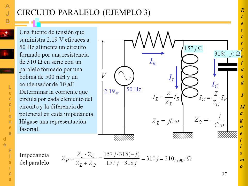 37 MagnetismoMagnetismo ElectricidadElectricidad y CIRCUITO PARALELO (EJEMPLO 3) IRIR ICIC ILIL 50 Hz 2.19 /0º Una fuente de tensión que suministra 2.