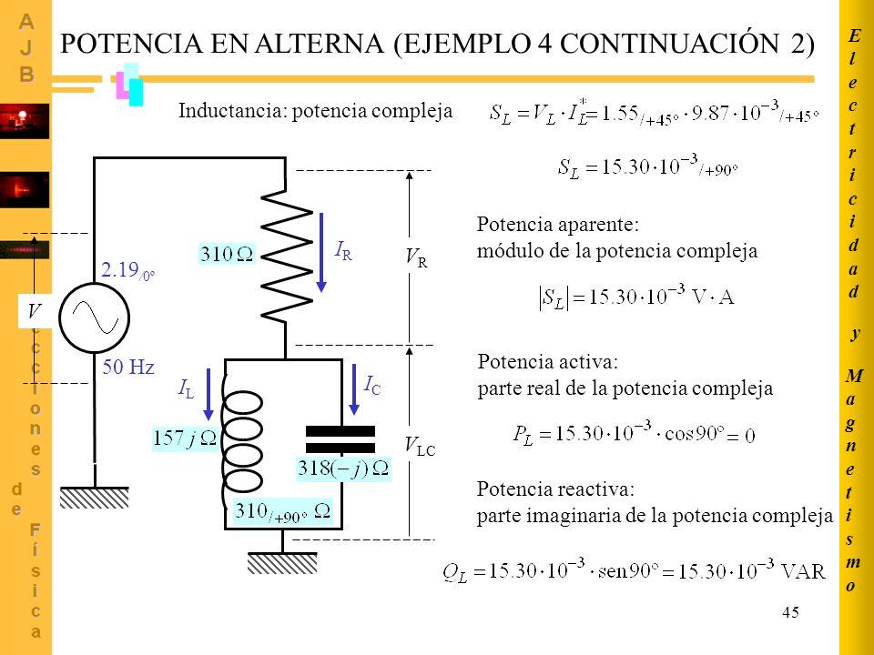45 POTENCIA EN ALTERNA (EJEMPLO 4 CONTINUACIÓN 2) IRIR 50 Hz 2.19 /0º ICIC ILIL V LC VRVR V Inductancia: potencia compleja Potencia aparente: módulo d