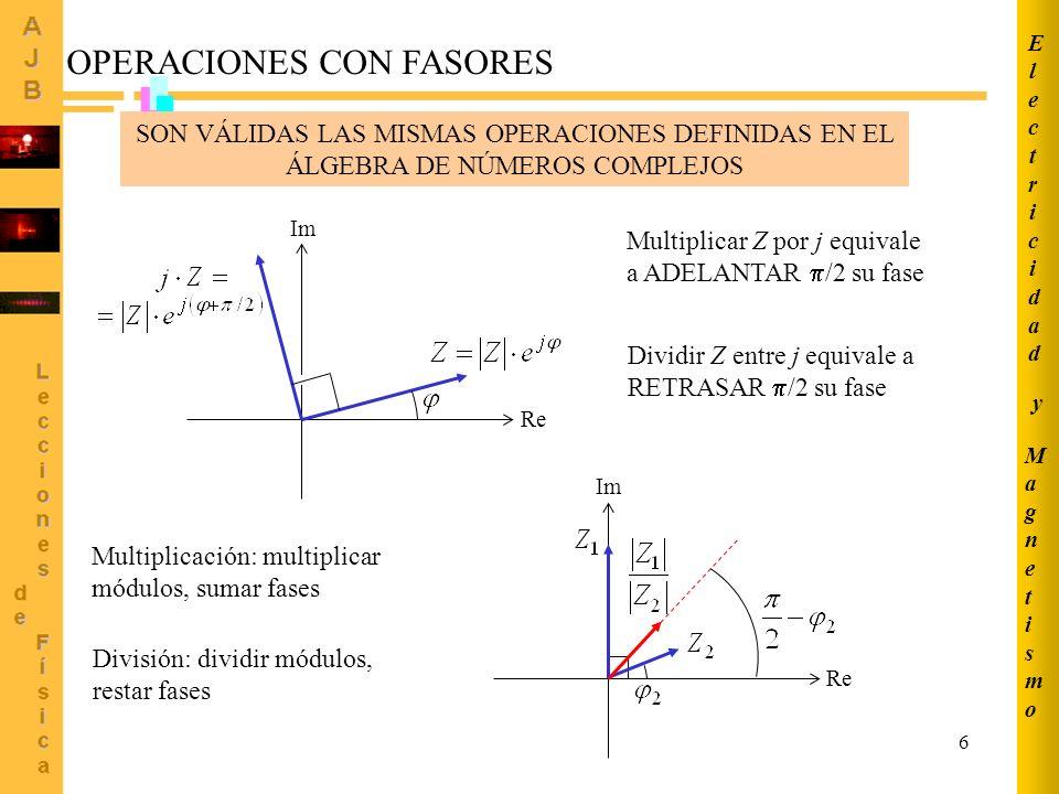 6 OPERACIONES CON FASORES Re Im Multiplicar Z por j equivale a ADELANTAR /2 su fase Dividir Z entre j equivale a RETRASAR /2 su fase SON VÁLIDAS LAS M