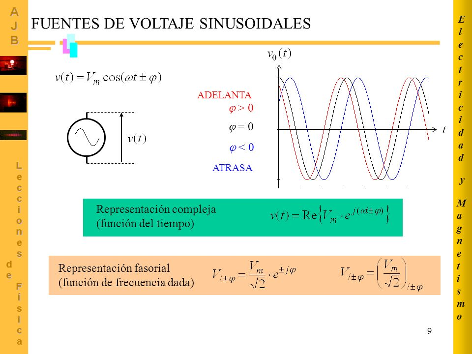 9 FUENTES DE VOLTAJE SINUSOIDALES Representación compleja (función del tiempo) = 0 > 0 ADELANTA < 0 ATRASA Representación fasorial (función de frecuen