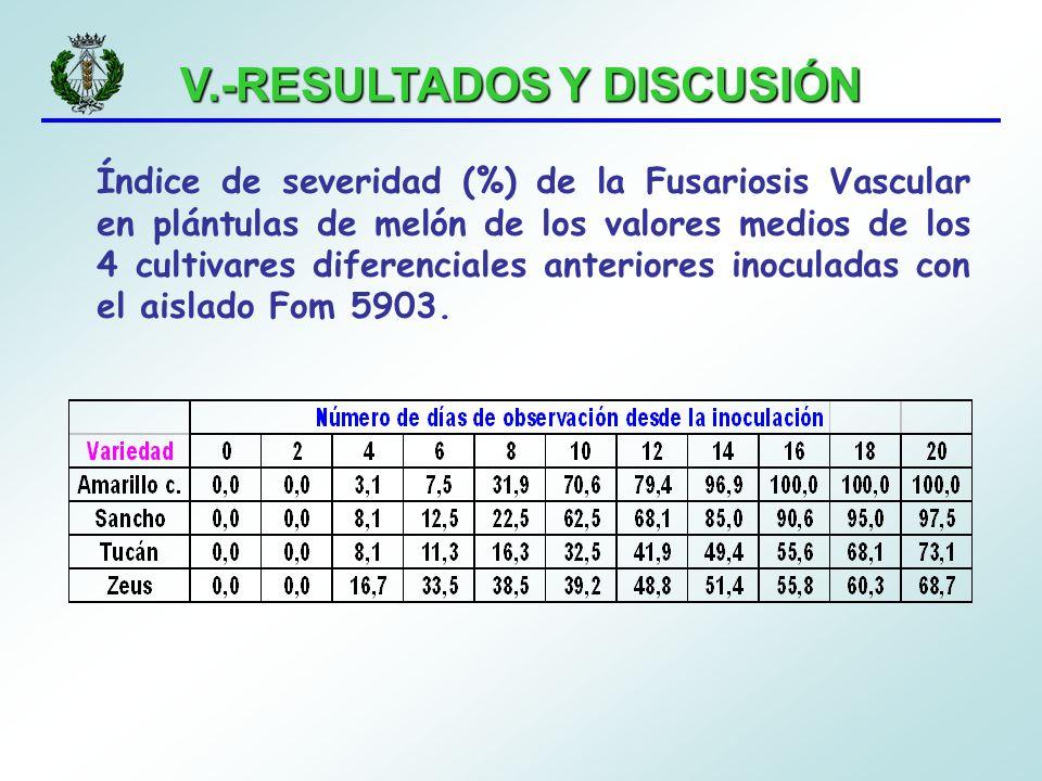 V.-RESULTADOS Y DISCUSIÓN Índice de severidad (%) de la Fusariosis Vascular en plántulas de melón de los valores medios de los 4 cultivares diferencia