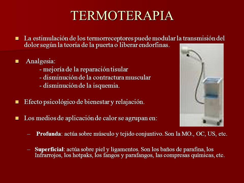 TERMOTERAPIA La estimulación de los termorreceptores puede modular la transmisión del dolor según la teoría de la puerta o liberar endorfinas. La esti