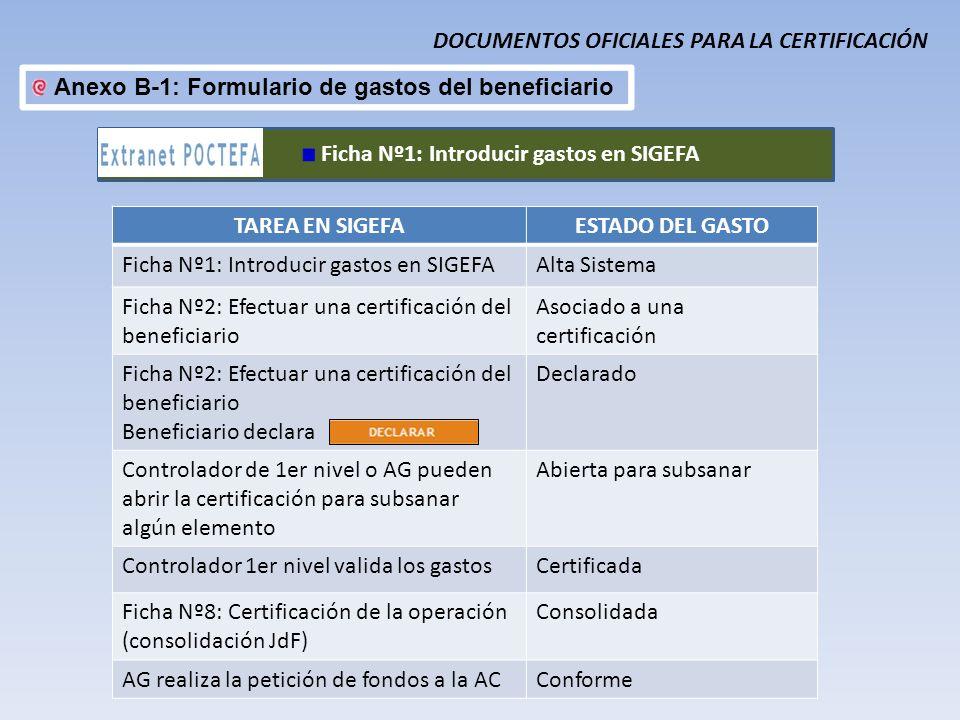 DOCUMENTOS OFICIALES PARA LA CERTIFICACIÓN Anexo B-1: Formulario de gastos del beneficiario Ficha Nº1: Introducir gastos en SIGEFA TAREA EN SIGEFAESTA