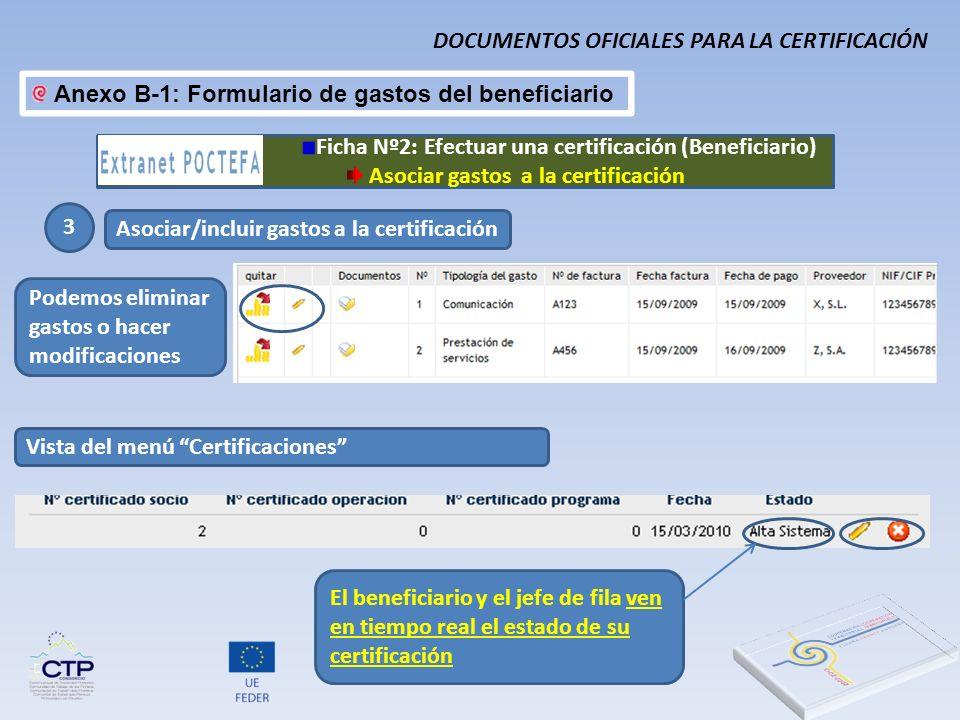 Anexo B-1: Formulario de gastos del beneficiario 3 Asociar/incluir gastos a la certificación Podemos eliminar gastos o hacer modificaciones Ficha Nº2: