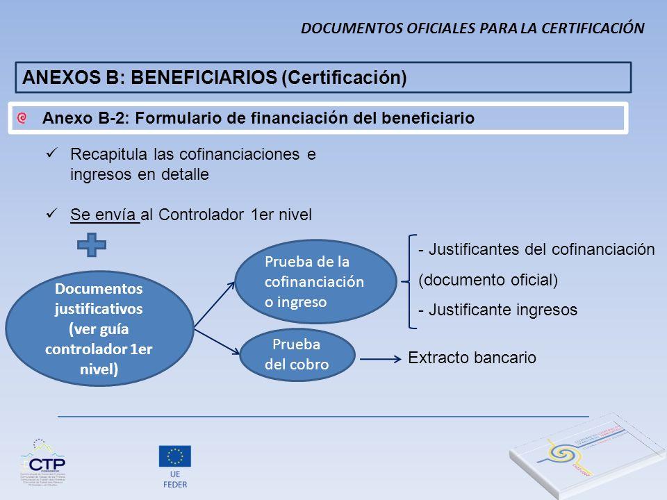 - Justificantes del cofinanciación (documento oficial) - Justificante ingresos Extracto bancario Documentos justificativos (ver guía controlador 1er n