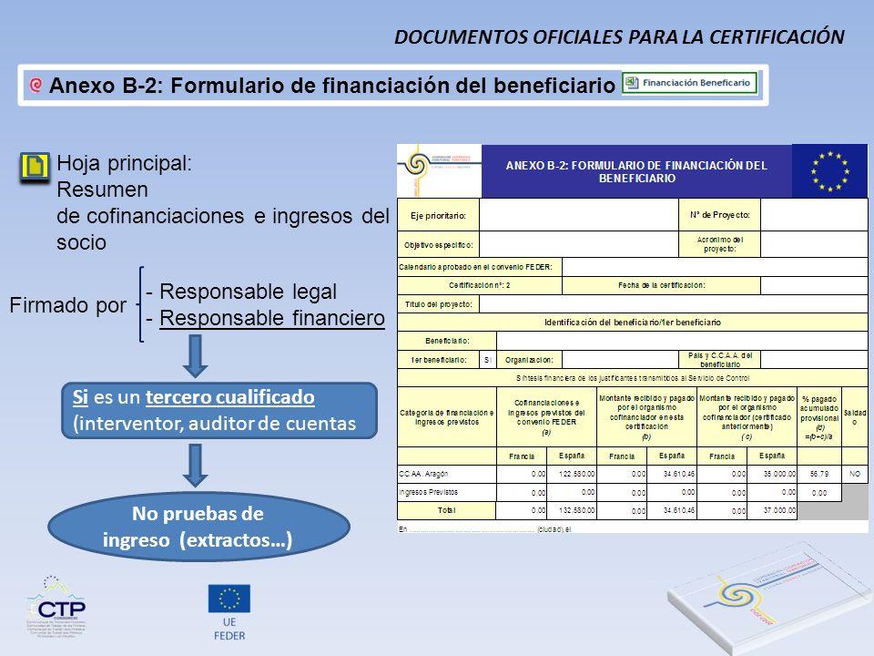 Hoja principal: Resumen de cofinanciaciones e ingresos del socio - Responsable legal - Responsable financiero Firmado por Si es un tercero cualificado