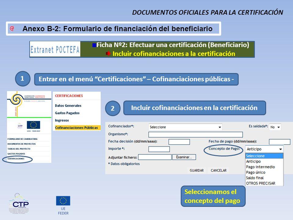 Anexo B-2: Formulario de financiación del beneficiario 1 Entrar en el menú Certificaciones – Cofinanciaciones públicas - 2 Incluir cofinanciaciones en