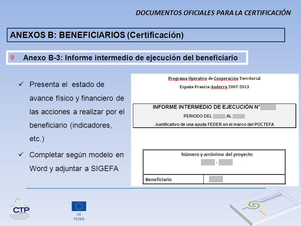 DOCUMENTOS OFICIALES PARA LA CERTIFICACIÓN ANEXOS B: BENEFICIARIOS (Certificación) Presenta el estado de avance físico y financiero de las acciones a