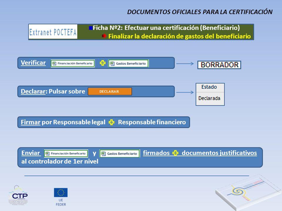 Verificar Declarar: Pulsar sobre Firmar por Responsable legal Responsable financiero Enviar y firmados documentos justificativos al controlador de 1er