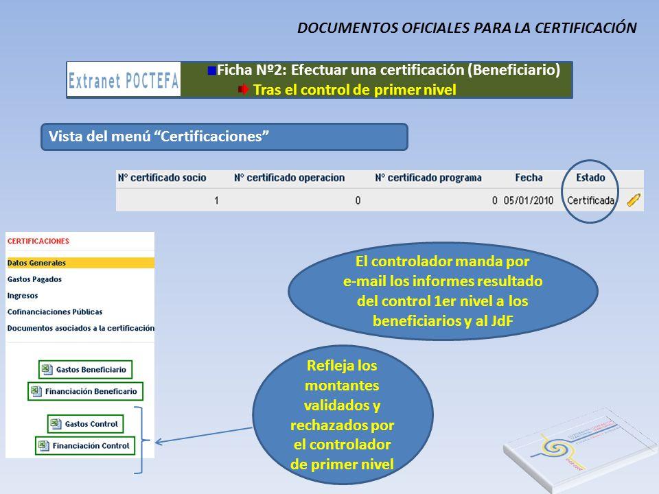 Vista del menú Certificaciones Ficha Nº2: Efectuar una certificación (Beneficiario) Tras el control de primer nivel DOCUMENTOS OFICIALES PARA LA CERTI