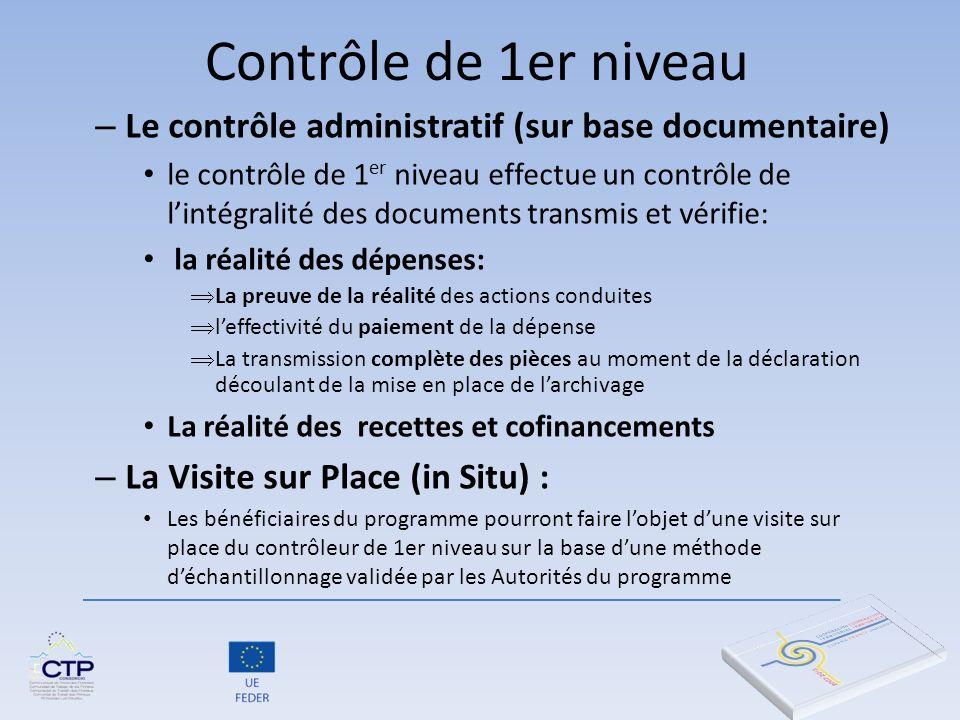 Contrôle de 1er niveau – Le contrôle administratif (sur base documentaire) le contrôle de 1 er niveau effectue un contrôle de lintégralité des documen