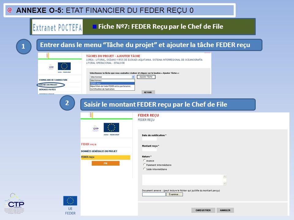 ANNEXE O-5: ETAT FINANCIER DU FEDER REÇU 0 1 Entrer dans le menu Tâche du projet et ajouter la tâche FEDER reçu Saisir le montant FEDER reçu par le Ch