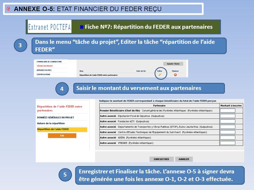 ANNEXE O-5: ETAT FINANCIER DU FEDER REÇU 3 Dans le menu tâche du projet, Editer la tâche répartition de laide FEDER Saisir le montant du versement aux