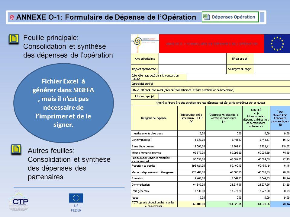 Feuille principale: Consolidation et synthèse des dépenses de lopération ANNEXE O-1: Formulaire de Dépense de lOpération Fichier Excel à générer dans