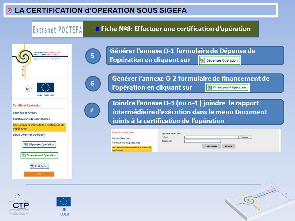 LA CERTIFICATION dOPERATION SOUS SIGEFA 3 Générer lannexe O-1 formulaire de Dépense de lopération en cliquant sur Fiche Nº8: Effectuer une certificati
