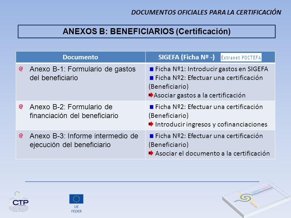 ANEXOS B: BENEFICIARIOS (Certificación) Documento SIGEFA (Ficha Nº -) Anexo B-1: Formulario de gastos del beneficiario Ficha Nº1: Introducir gastos en