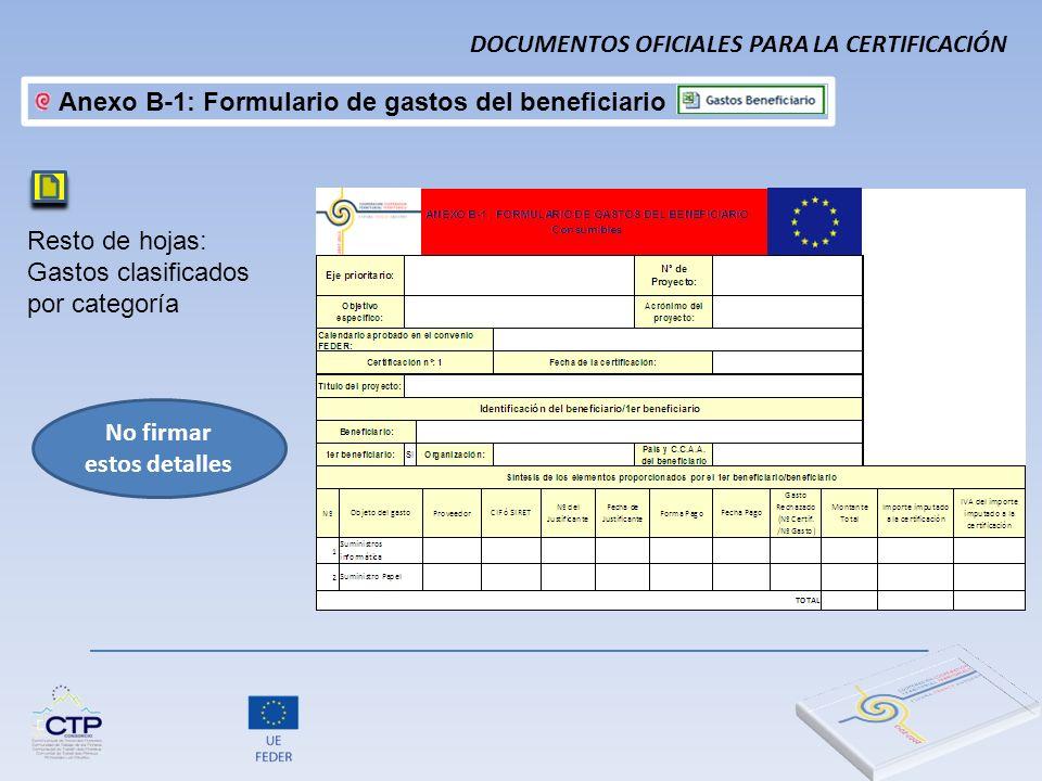 Resto de hojas: Gastos clasificados por categoría No firmar estos detalles Anexo B-1: Formulario de gastos del beneficiario DOCUMENTOS OFICIALES PARA