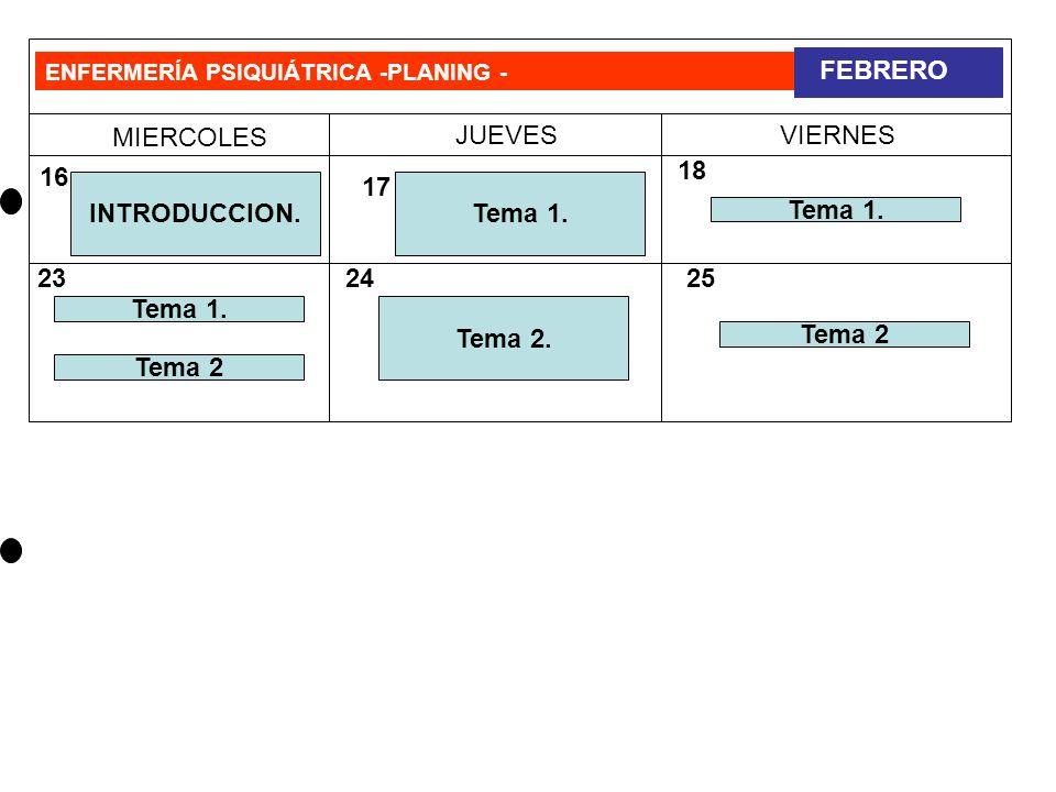 ENFERMERÍA PSIQUIÁTRICA –PLANING- MIERCOLES JUEVESVIERNES MARZO 4 1011 1217 18 23 9 30 31 VACACIONES G-1-Tema 1 G-2-Tema 1 Tema 3 G-1-Tema 2 G-2-Tema 2 Tema 3 G-3-Tema 2 Tema 3 Tema 4 G-3-Tema 1
