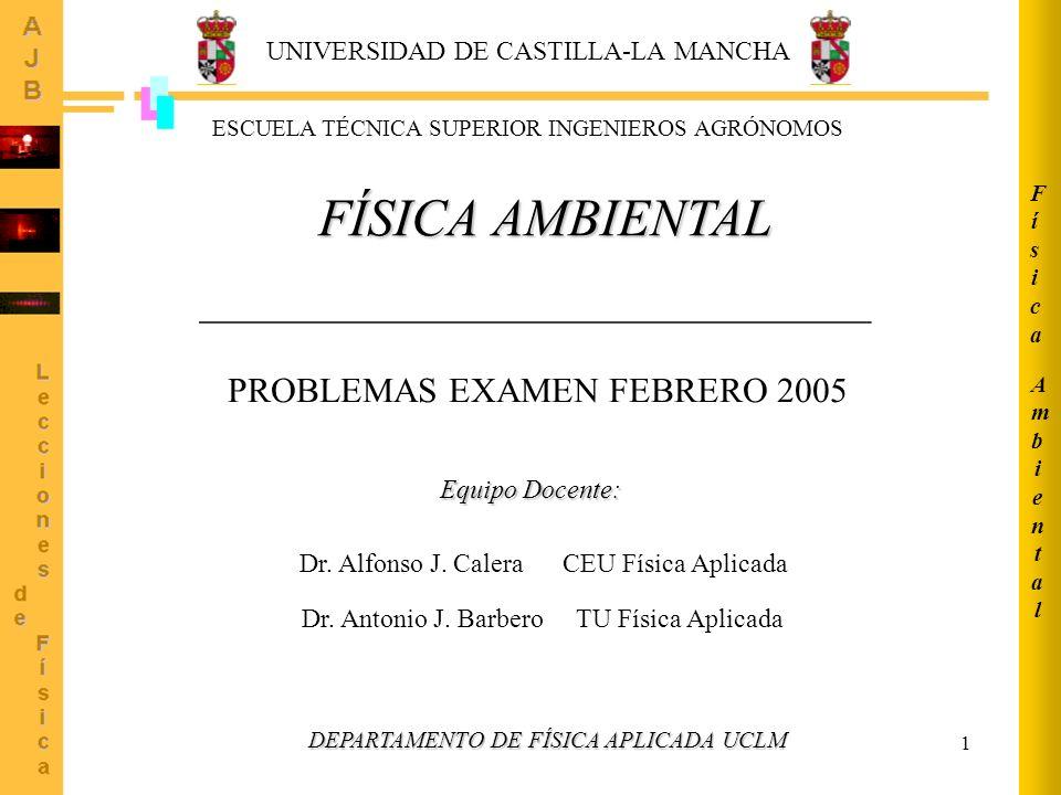 1 AmbientalAmbiental FísicaFísica FÍSICA AMBIENTAL ______________________________________ ESCUELA TÉCNICA SUPERIOR INGENIEROS AGRÓNOMOS Dr. Antonio J.