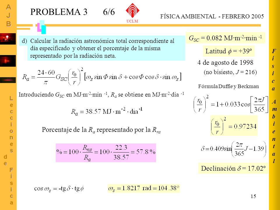 15 AmbientalAmbiental FísicaFísica FÍSICA AMBIENTAL - FEBRERO 2005 UCLM PROBLEMA 36/6 Calcular la radiación astronómica total correspondiente al día e