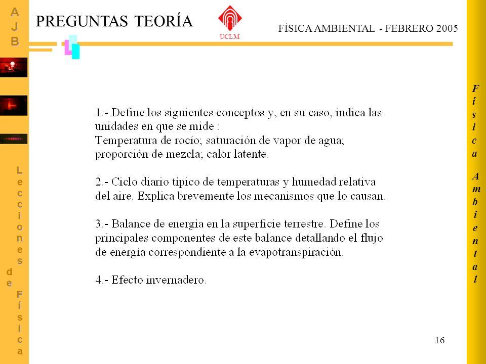 16 FÍSICA AMBIENTAL - FEBRERO 2005 PREGUNTAS TEORÍA UCLM AmbientalAmbiental FísicaFísica