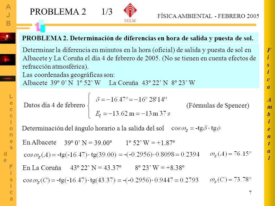 7 PROBLEMA 21/3 AmbientalAmbiental FísicaFísica Determinar la diferencia en minutos en la hora (oficial) de salida y puesta de sol en Albacete y La Co