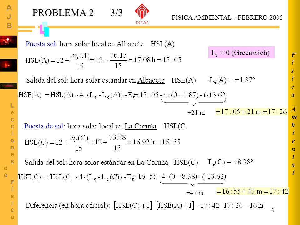 9 PROBLEMA 23/3 FÍSICA AMBIENTAL - FEBRERO 2005 UCLM Puesta sol: hora solar local en Albacete HSL(A) Salida del sol: hora solar estándar en Albacete H