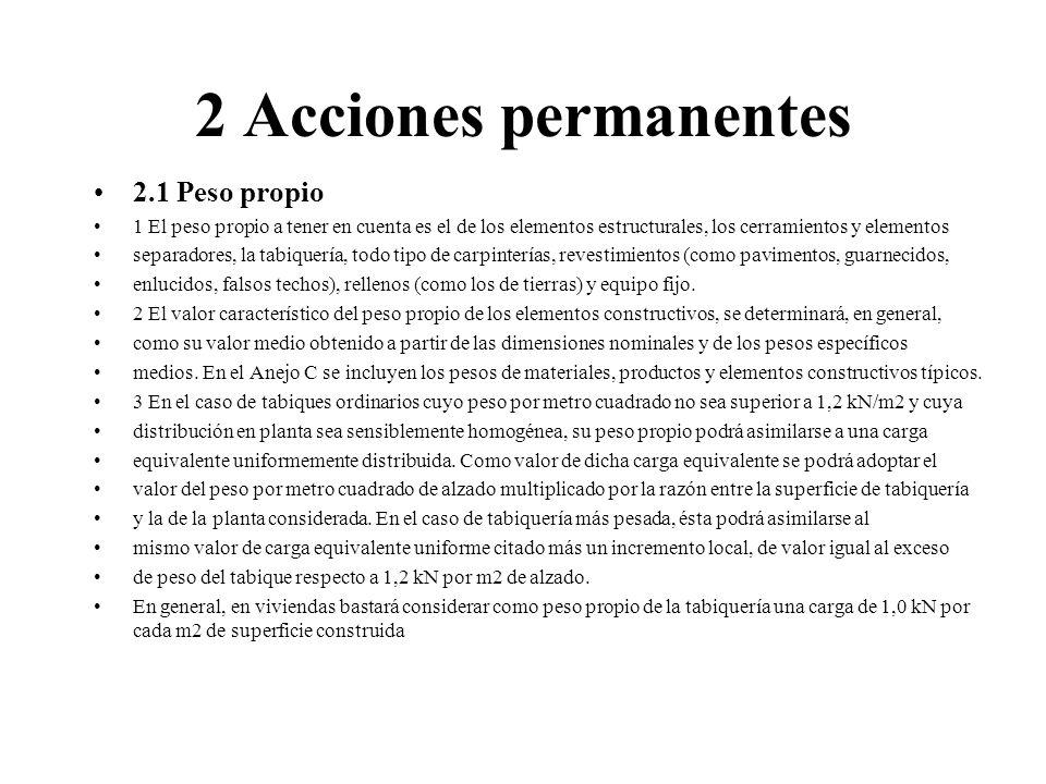 2 Acciones permanentes 2.1 Peso propio 1 El peso propio a tener en cuenta es el de los elementos estructurales, los cerramientos y elementos separador