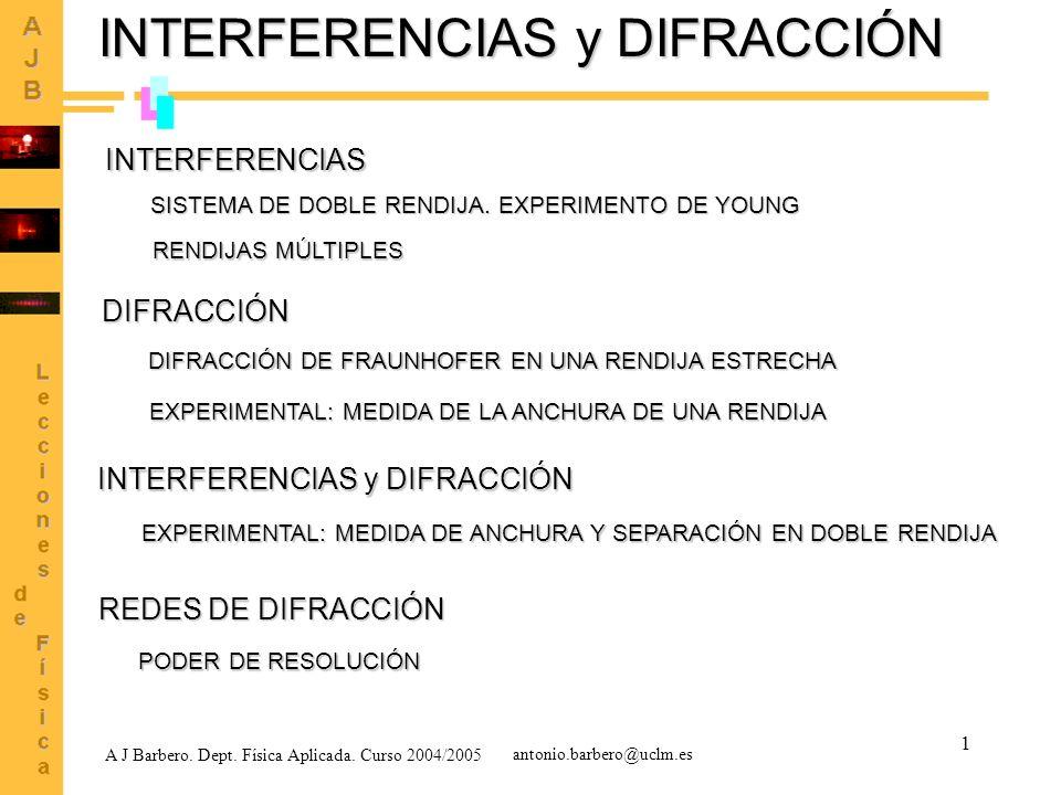 1 INTERFERENCIAS y DIFRACCIÓN INTERFERENCIAS SISTEMA DE DOBLE RENDIJA. EXPERIMENTO DE YOUNG RENDIJAS MÚLTIPLES DIFRACCIÓN A J Barbero. Dept. Física Ap