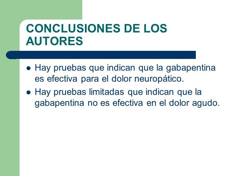 CONCLUSIONES DE LOS AUTORES Hay pruebas que indican que la gabapentina es efectiva para el dolor neuropático. Hay pruebas limitadas que indican que la