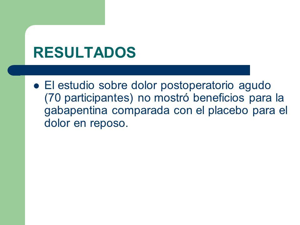 RESULTADOS El estudio sobre dolor postoperatorio agudo (70 participantes) no mostró beneficios para la gabapentina comparada con el placebo para el do