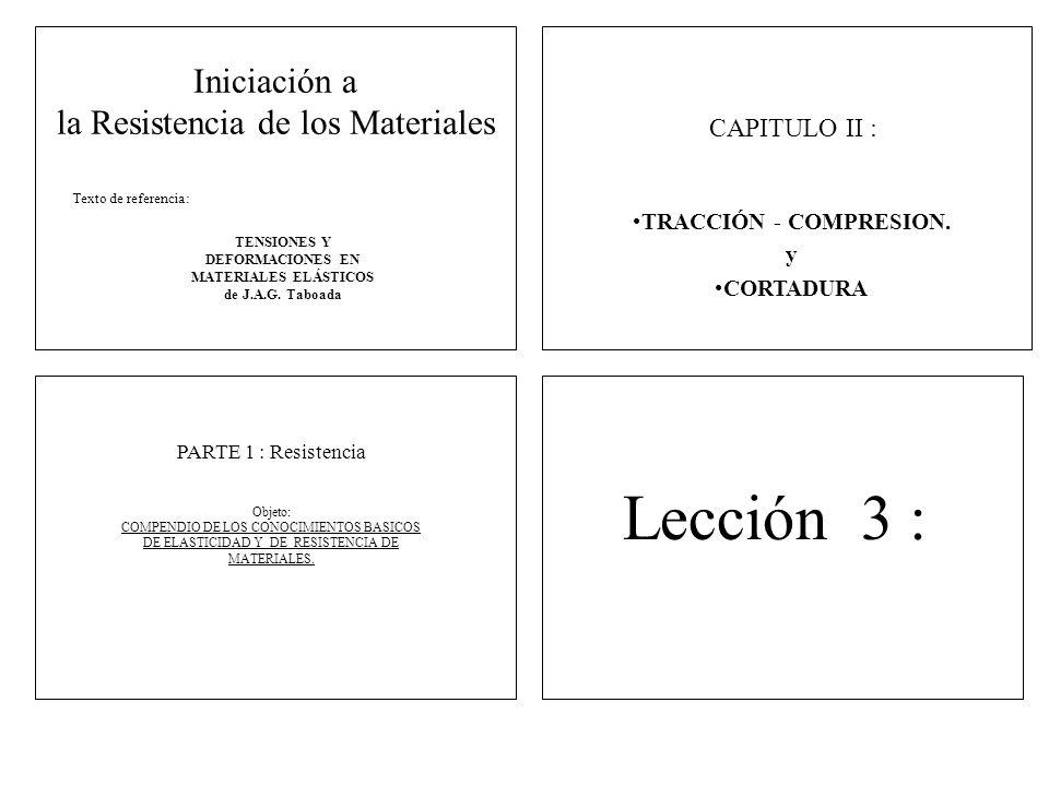 Iniciación a la Resistencia de los Materiales TENSIONES Y DEFORMACIONES EN MATERIALES ELÁSTICOS de J.A.G. Taboada Texto de referencia: PARTE 1 : Resis