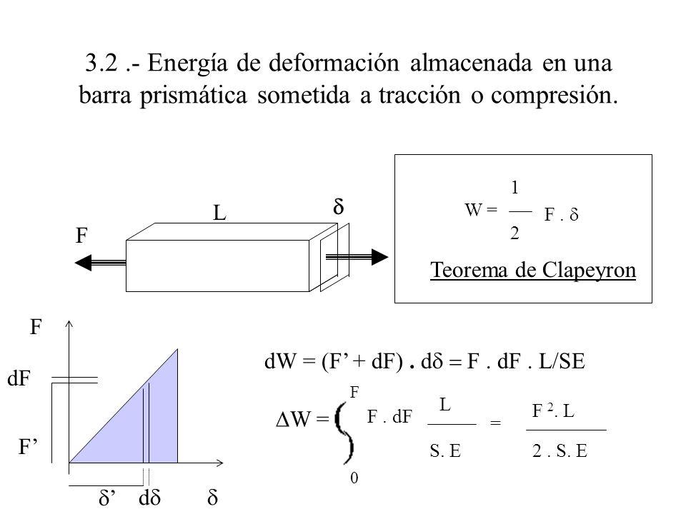 3.2.- Energía de deformación almacenada en una barra prismática sometida a tracción o compresión. F F dF F d dW = (F + dF). d F. dF. L/SE W = L S. E F