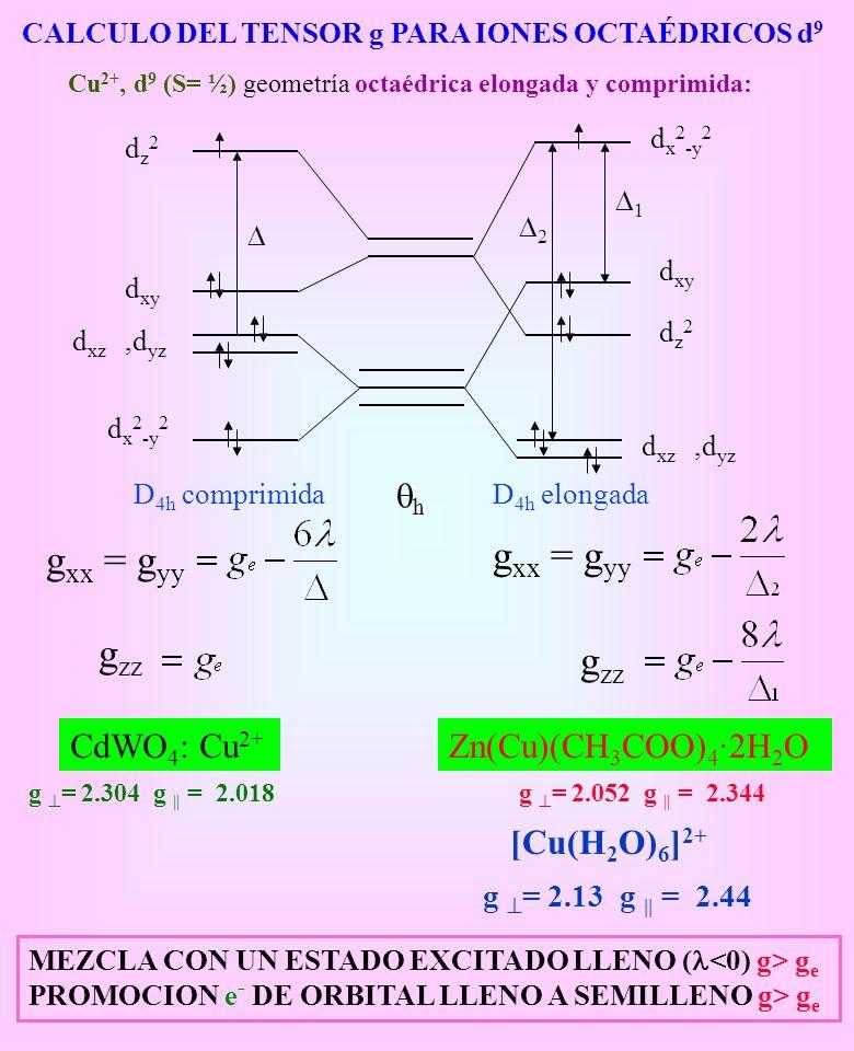 CALCULO DEL TENSOR g PARA IONES OCTAÉDRICOS d 9 Cu 2+, d 9 (S= ½) geometría octaédrica elongada y comprimida: D 4h comprimida g xx = g yy g zz CdWO 4