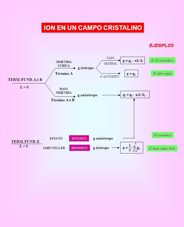 ION EN UN CAMPO CRISTALINO EJEMPLOS TERM. FUND. A ó B L = 0 SIMETRIA CUBICA BAJA SIMETRIA Término A Término A ó B g anisótropo g isótropo CASO GENERAL