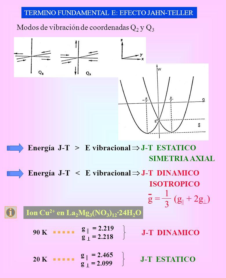 TERMINO FUNDAMENTAL E: EFECTO JAHN-TELLER Modos de vibración de coordenadas Q 2 y Q 3 Energía J-T > E vibracional J-T ESTATICO SIMETRIA AXIAL Energía